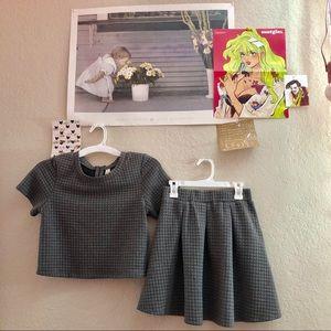 crop top sweater and skirt set